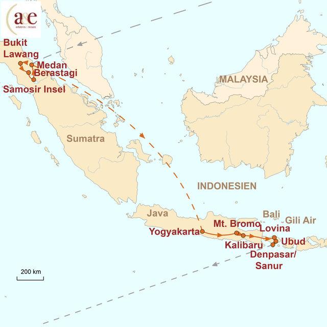Reiseroute unserer Indonesien Reise Drei Inseln, ein Abenteuer