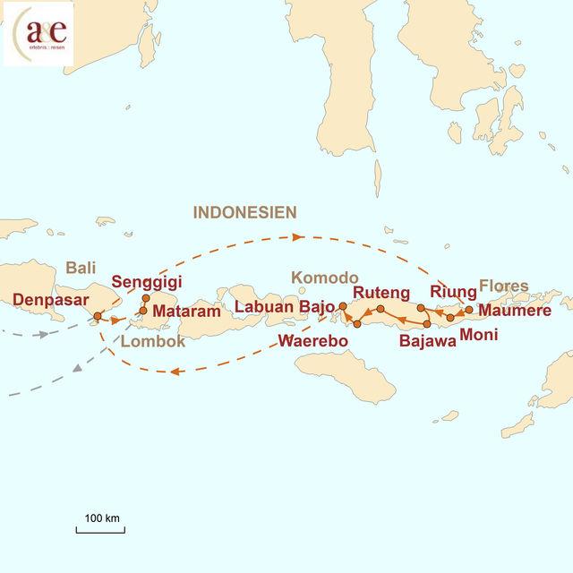 Reiseroute unserer Indonesien Reise Flores mit Komodo Nationalpark & Lombok