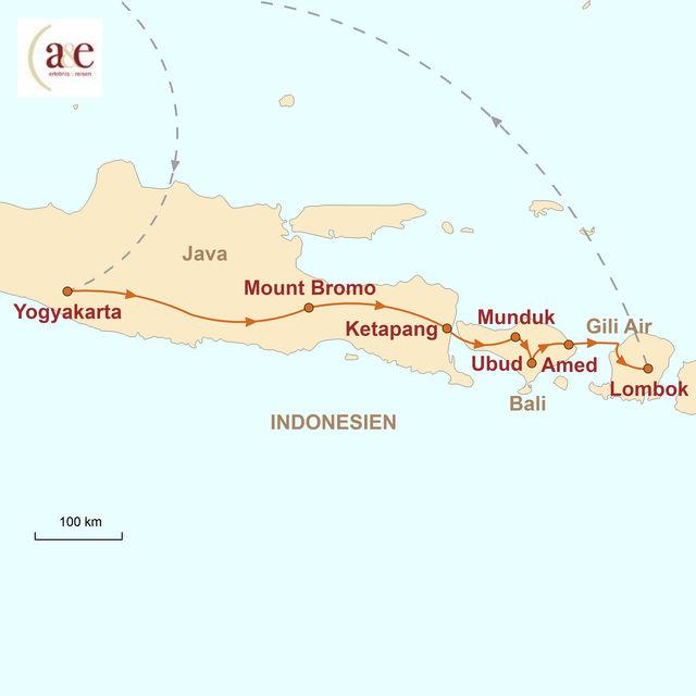 Reiseroute unserer Indonesien Reise Java, Bali & Gili Air