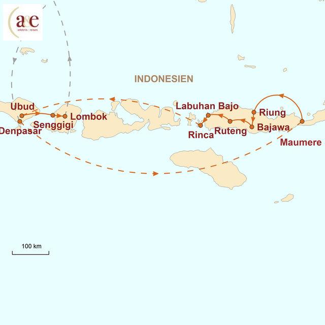Reiseroute unserer Indonesien Reise Mystik & Natur