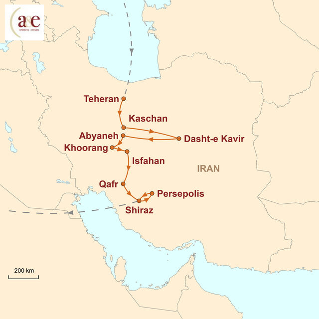 Reiseroute unserer Iran Reise Altes Persien neu entdeckt