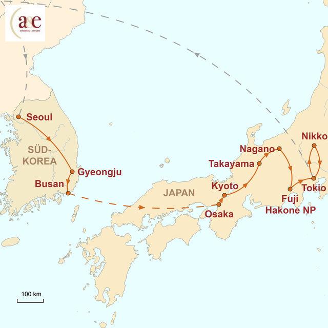 Reiseroute unserer Japan Südkorea Reise Ostasiatische Traditionen in schillernder Moderne