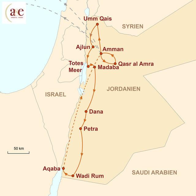Reiseroute unserer Jordanien Reise Rote Wüste, Meer und Felsenstadt
