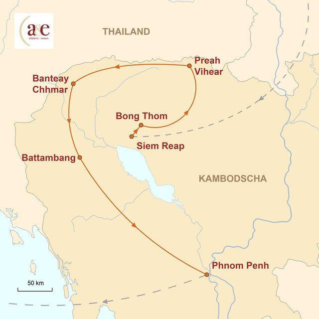 Reiseroute unserer Kambodscha Reise Entdeckungsreise im Reich der Khmer