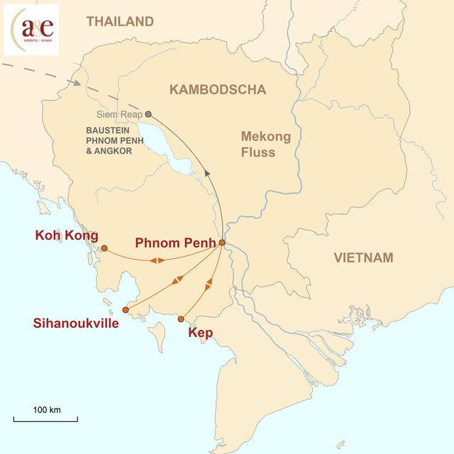 Reiseroute unserer Kambodscha Reise Erholungstage am Meer