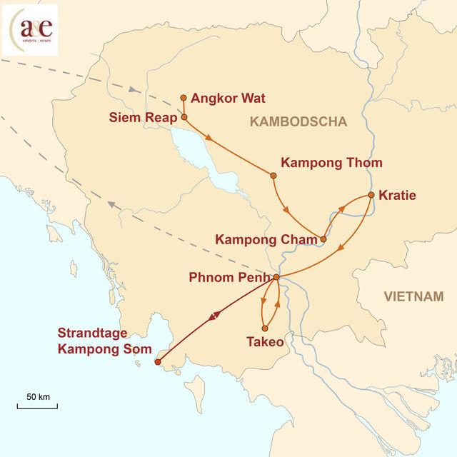 Reiseroute unserer Kambodscha Reise Khmer & mehr