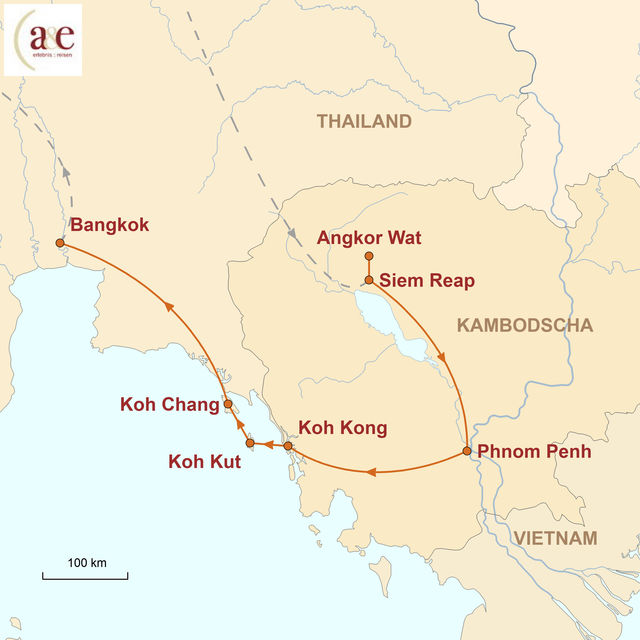 Reiseroute unserer Kambodscha Thailand Reise Dschungel-Tempel & Inseln im Meer...