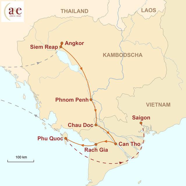 Reiseroute unserer Kambodscha Vietnam Reise Kambodscha & Vietnam – relaxed! - Unterwegs zwischen Tempeln & Inseln