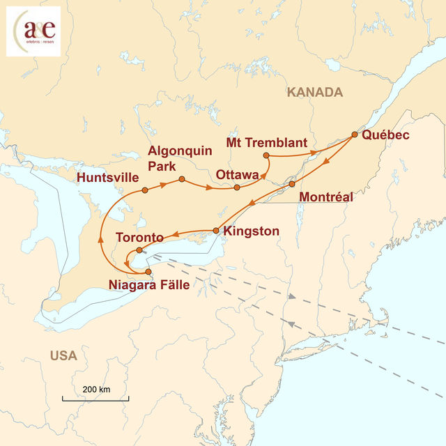 Reiseroute unserer Kanada Reise Das Beste im Osten