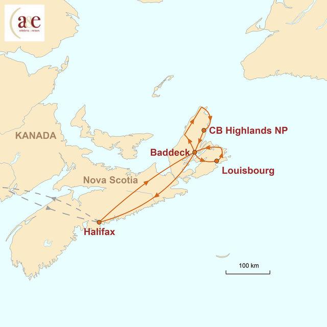 Reiseroute unserer Kanada Reise Ursprüngliches Nova Scotia