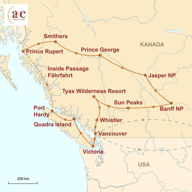 Karte zur Kanada Reise On the Road - den Westen erfahren