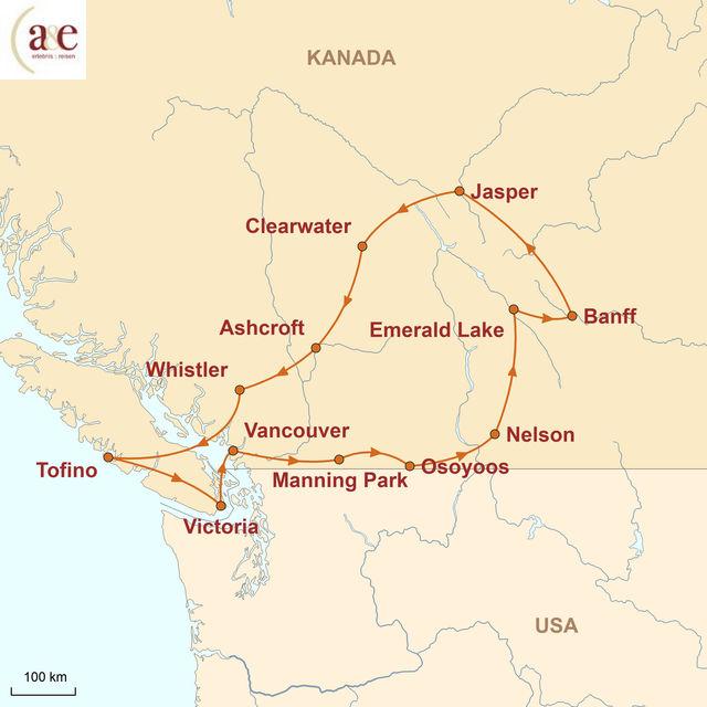Reiseroute unserer Kanada Reise Wilde Weiten auf eigene Faust