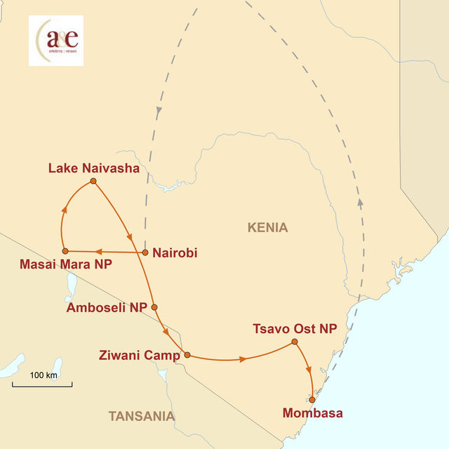 Reiseroute unserer Kenia Reise Jenseits von Afrika
