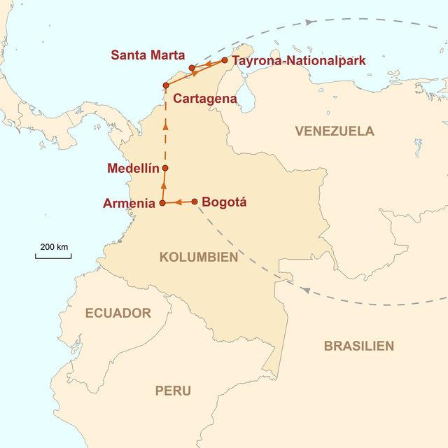 Reiseroute unserer Kolumbien Reise Das artenreiche Paradies