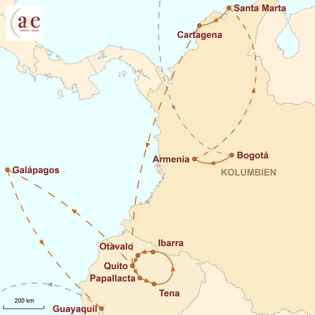 Reiseroute unserer Kolumbien Ecuador Reise Vulkane, Kaffee und Riesenschildkröten