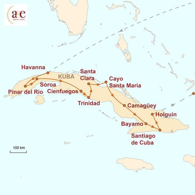 Reiseroute unserer Kuba Reise Faszination Kuba