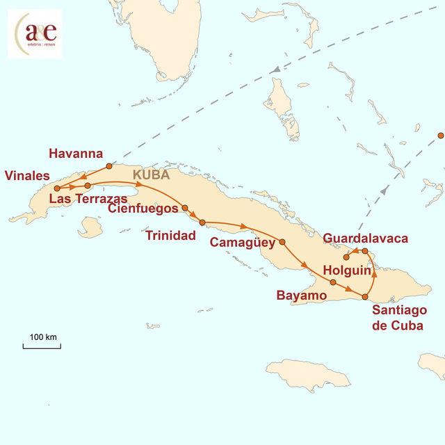 Reiseroute unserer Kuba Reise Zwischen Salsa und Revolution