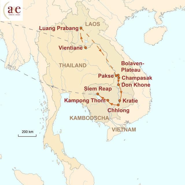 Reiseroute unserer Laos Kambodscha Reise Aktiv im Artenparadies Mekong