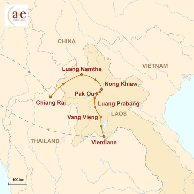 Reiseroute unserer Laos Reise Land des Lächelns