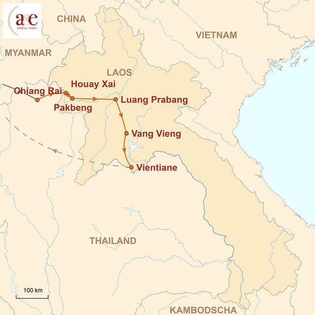 Reiseroute unserer Laos Rundreise Klassische Einblicke