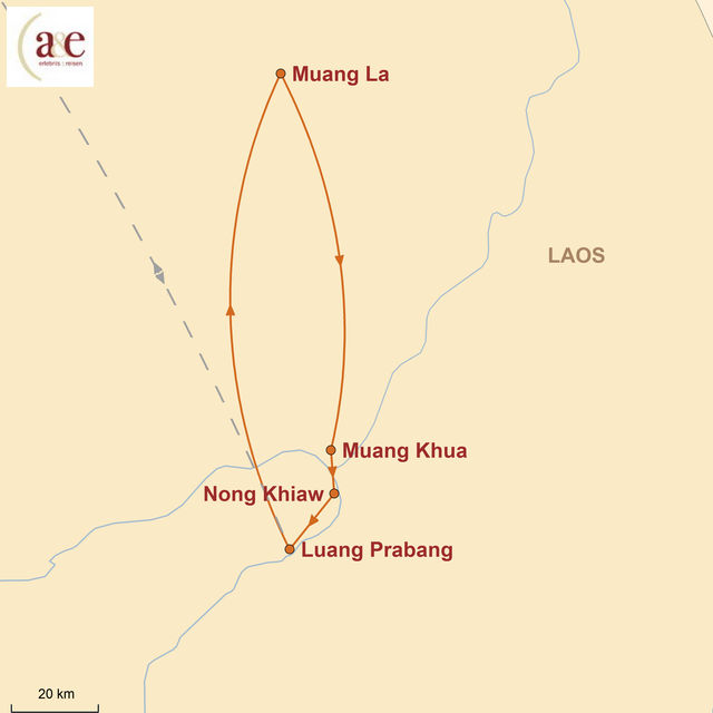 Reiseroute unserer Laos Reise Unberührter Norden