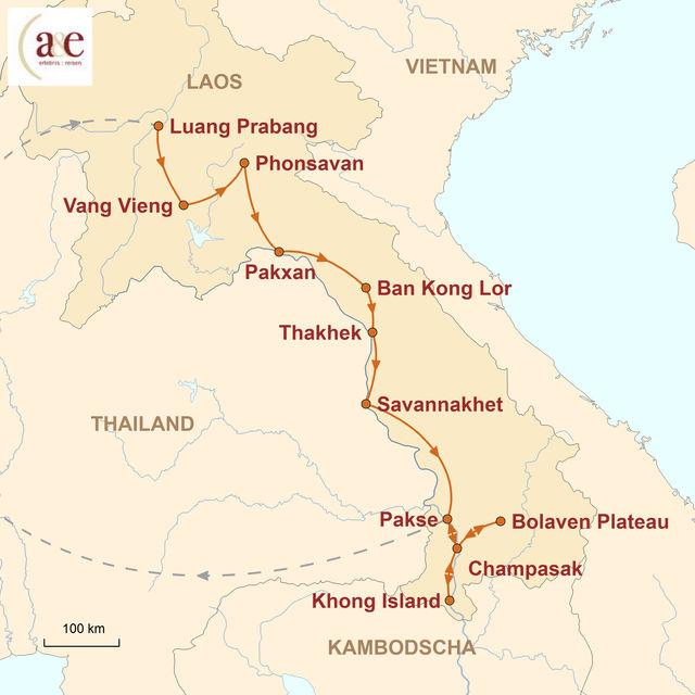 Reiseroute unserer Laos Reise Vielfalt Laos