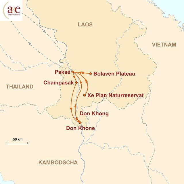 Reiseroute unserer Laos Reise Zum Ursprung des Kaffees