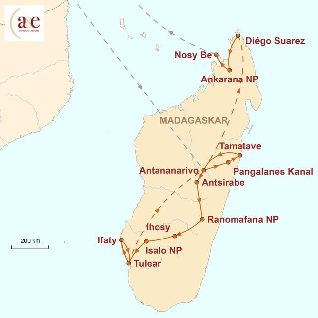 Reiseroute unserer Madagaskar Reise Insel der Lemuren und Schatzkammer der Artenvielfalt