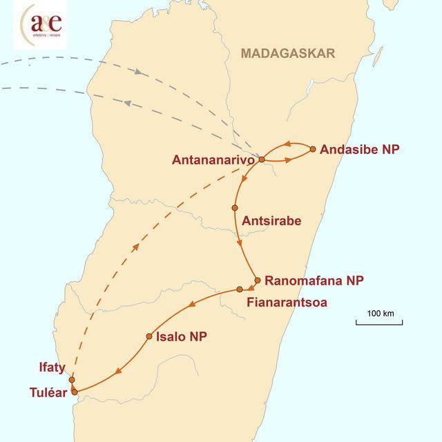 Reiseroute unserer Madagaskar Reise Vielfalt der roten Insel