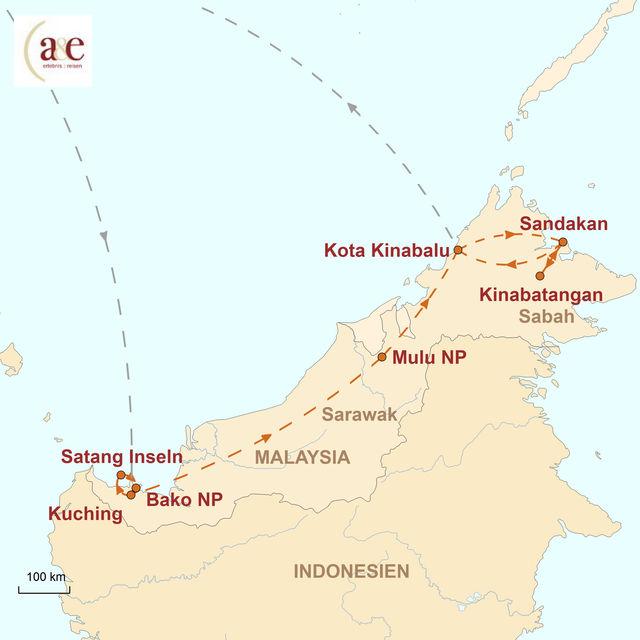 Reiseroute unserer Malaysia Reise Sinfonie tropischer Grüntöne