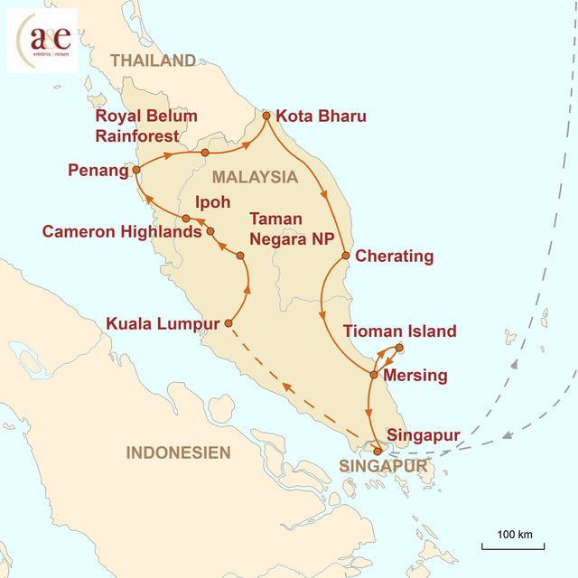Reiseroute unserer Malaysia Reise Malaysische Halbinsel erfahren!