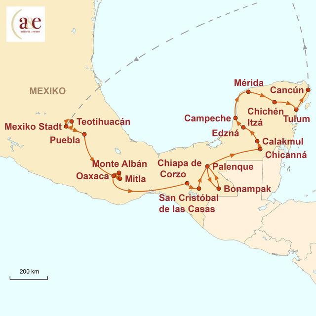 Reiseroute unserer Mexiko Reise Aktivtour ins Mayaland