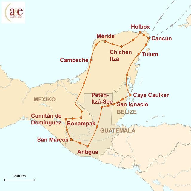 Reiseroute unserer Mexiko Belize Guatemala Reise Eintauchen in die Welt der Maya
