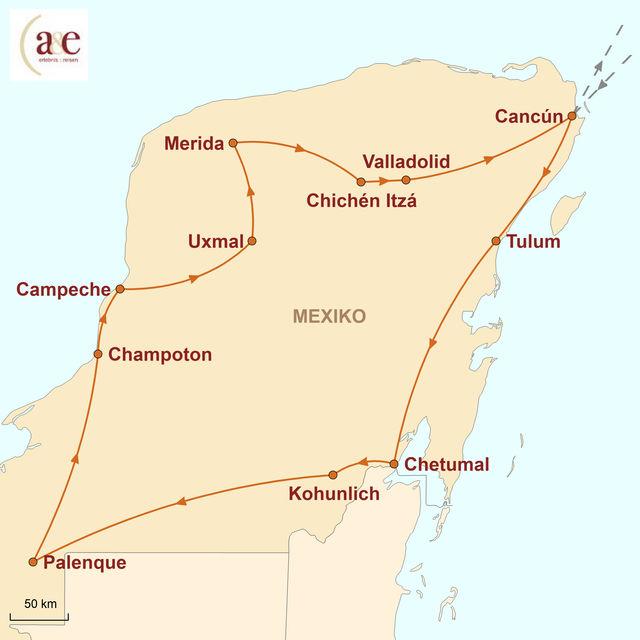 Reiseroute unserer Mexiko Reise Höhepunkte Yucatán