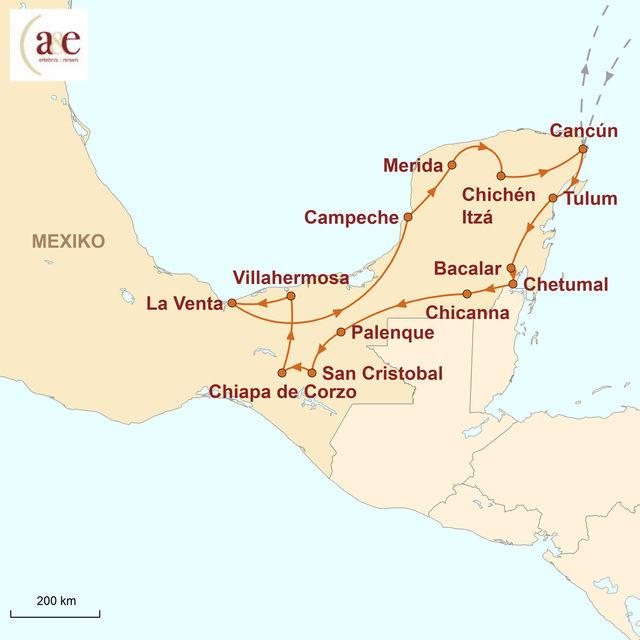 Reiseroute unserer Mexiko Reise Yucatán-Halbinsel Mietwagenreise