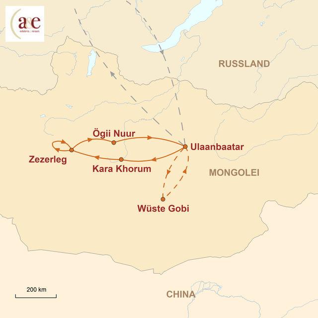 Reiseroute unserer Mongolei Reise Erben des Dschingis Khan