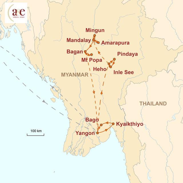 Reiseroute unserer Myanmar Reise Die Höhepunkte ganz klassisch