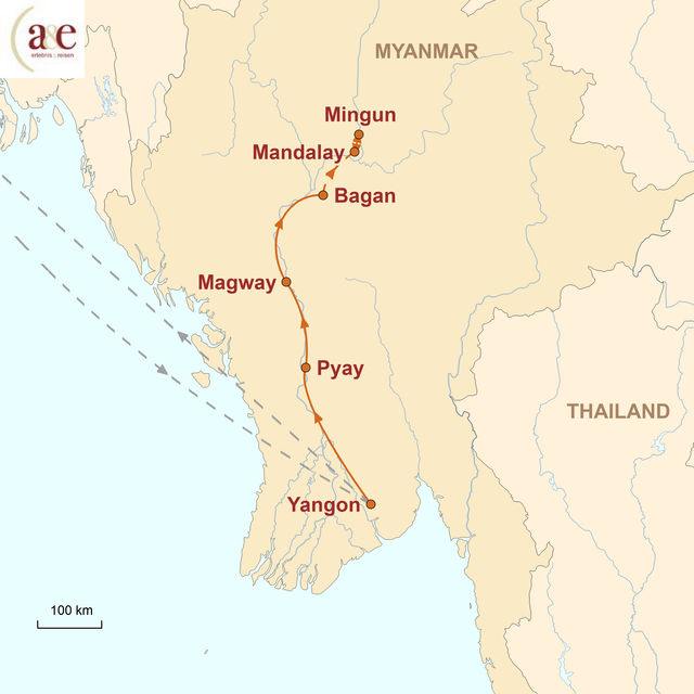 Reiseroute unserer Myanmar Reise Entlang des Irrawaddy Flusses
