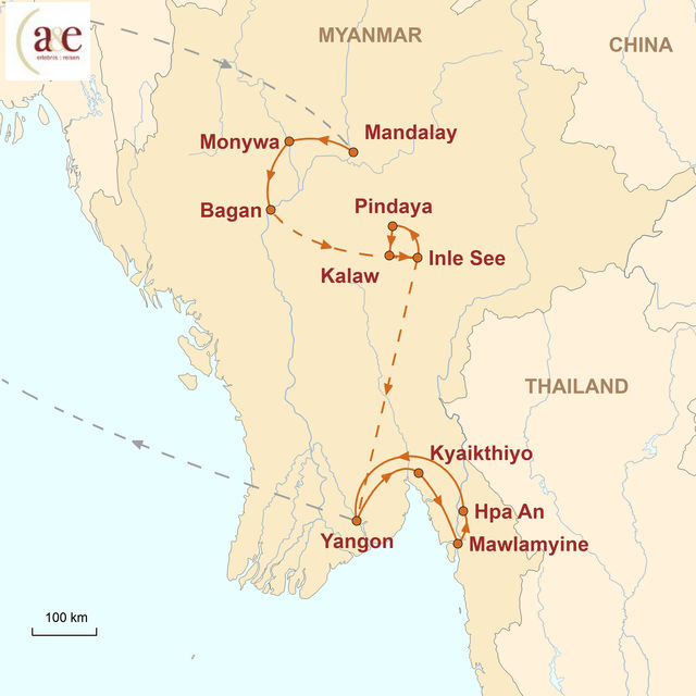 Reiseroute unserer Myanmar Reise Abenteuer im goldenen Land