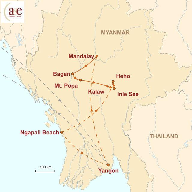 Reiseroute unserer Myanmar Reise Highlights & Meer