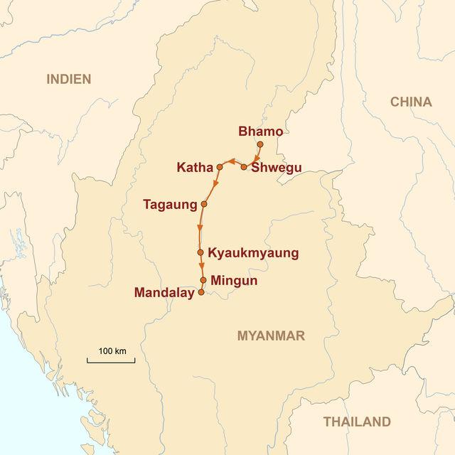 Reiseroute unserer Myanmar Reise Irrawaddy Flussfahrt auf der Amara (Bhamo – Mandalay)