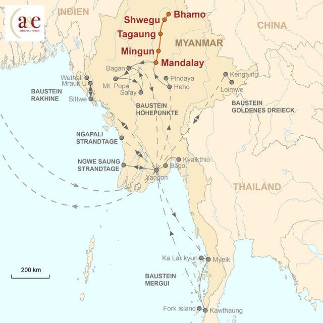 Reiseroute unserer Myanmar Reise Irrawaddy Flussfahrt auf der Amara (Mandalay – Bhamo)