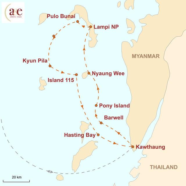 Reiseroute unserer Myanmar Reise Segelkreuzfahrt durch den Mergui-Archipel