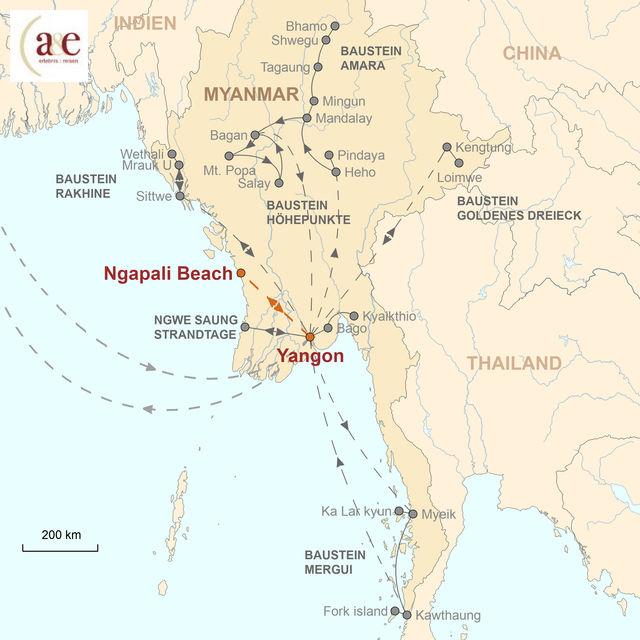 Reiseroute unserer Myanmar Reise Strandtage am Ngapali Beach