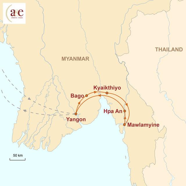 Reiseroute unserer Myanmar Reise Unentdeckter Süden