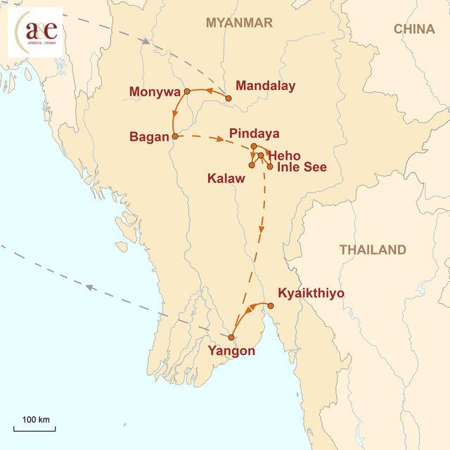Reiseroute unserer Myanmar Reise Ursprünglichkeit Asiens