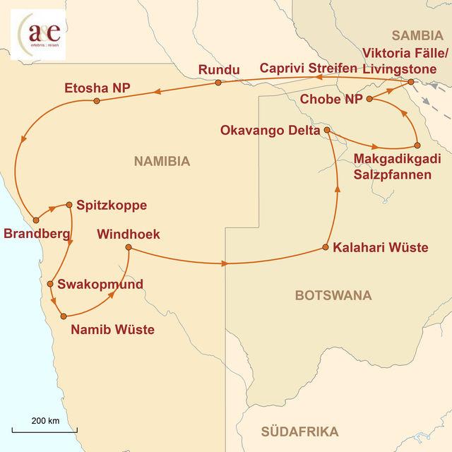 Reiseroute unserer Namibia Botswana Reise Wüste, Weite und Wildnis pur (Camping)