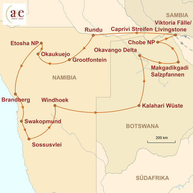 Reiseroute unserer Namibia Botswana Reise Wüste, Weite und Wildnis pur (feste Unterkünfte)