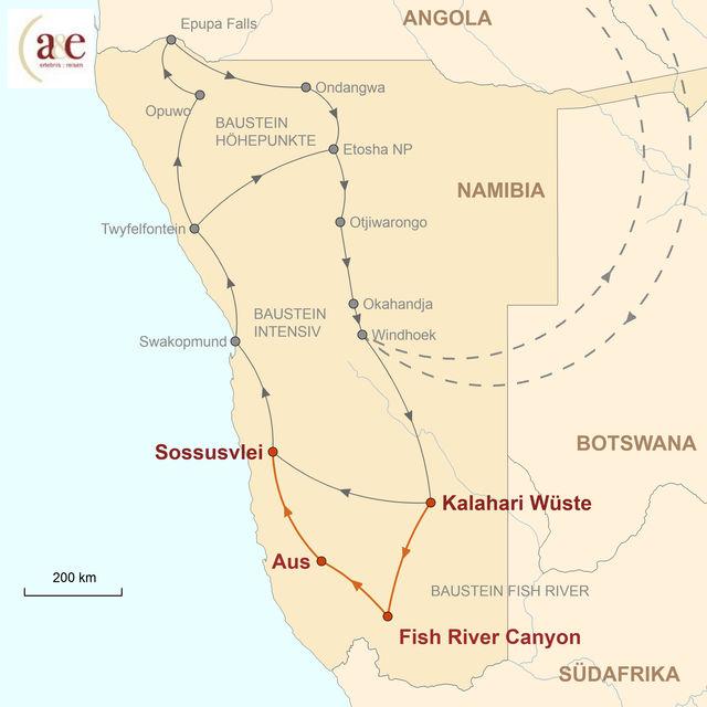 Reiseroute unserer Namibia Reise Fish River Canyon & Wüstenpferde