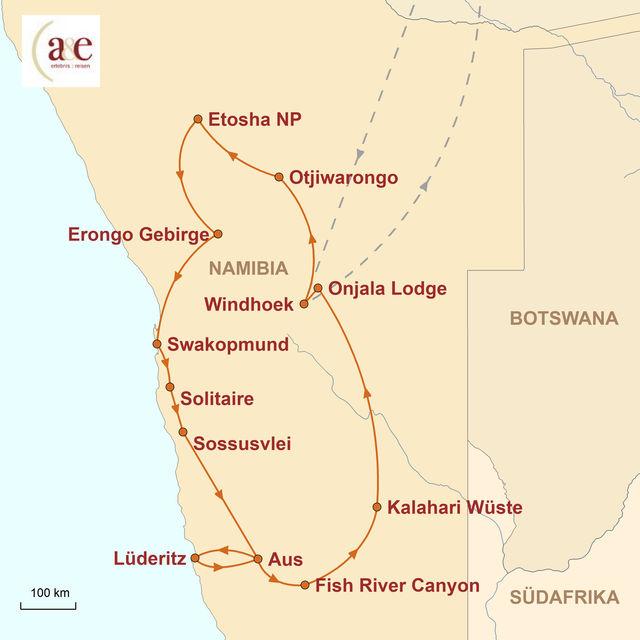 Reiseroute unserer Namibia Reise Große Gästefarm- und Lodge-Rundreise